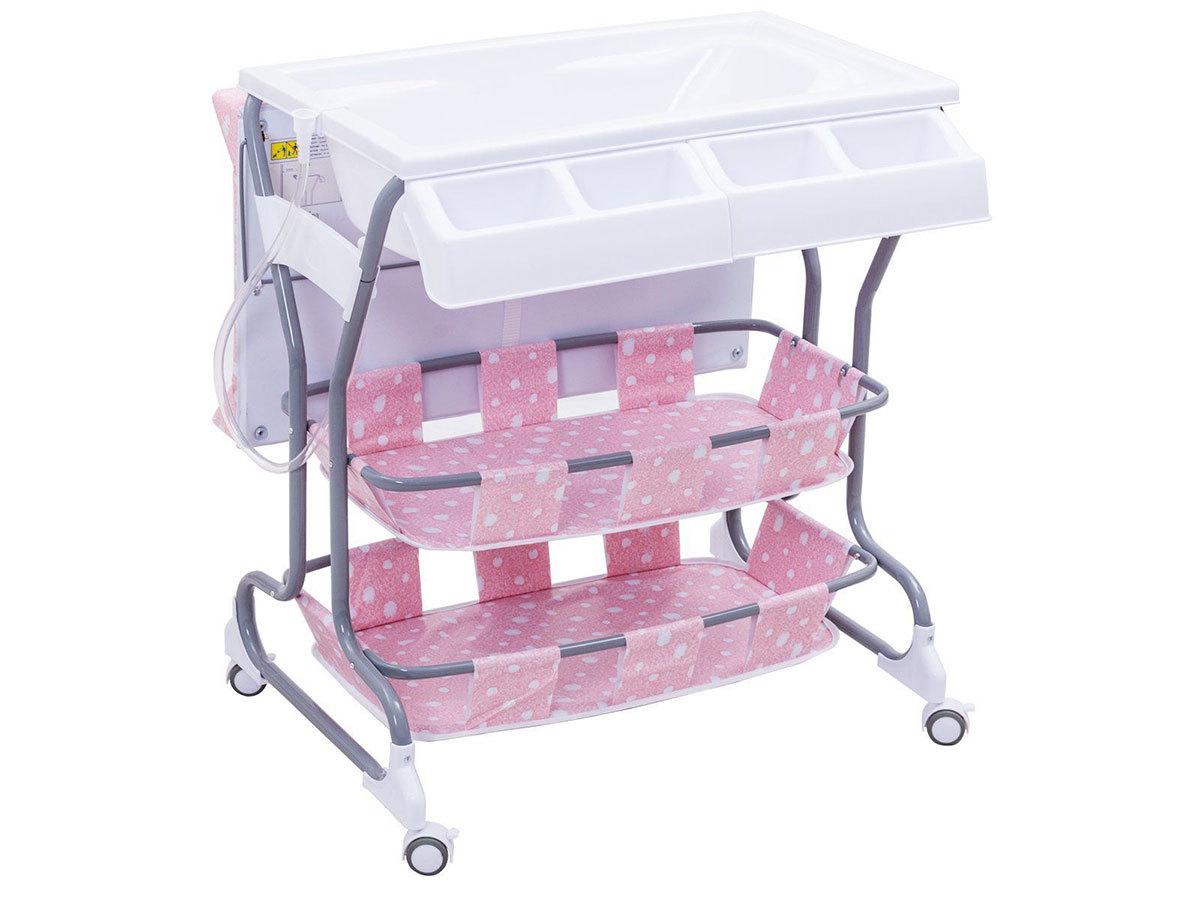 2 az 1-ben baba fürdető és pelenkázó állvány tárolókkal - RÓZSASZÍN