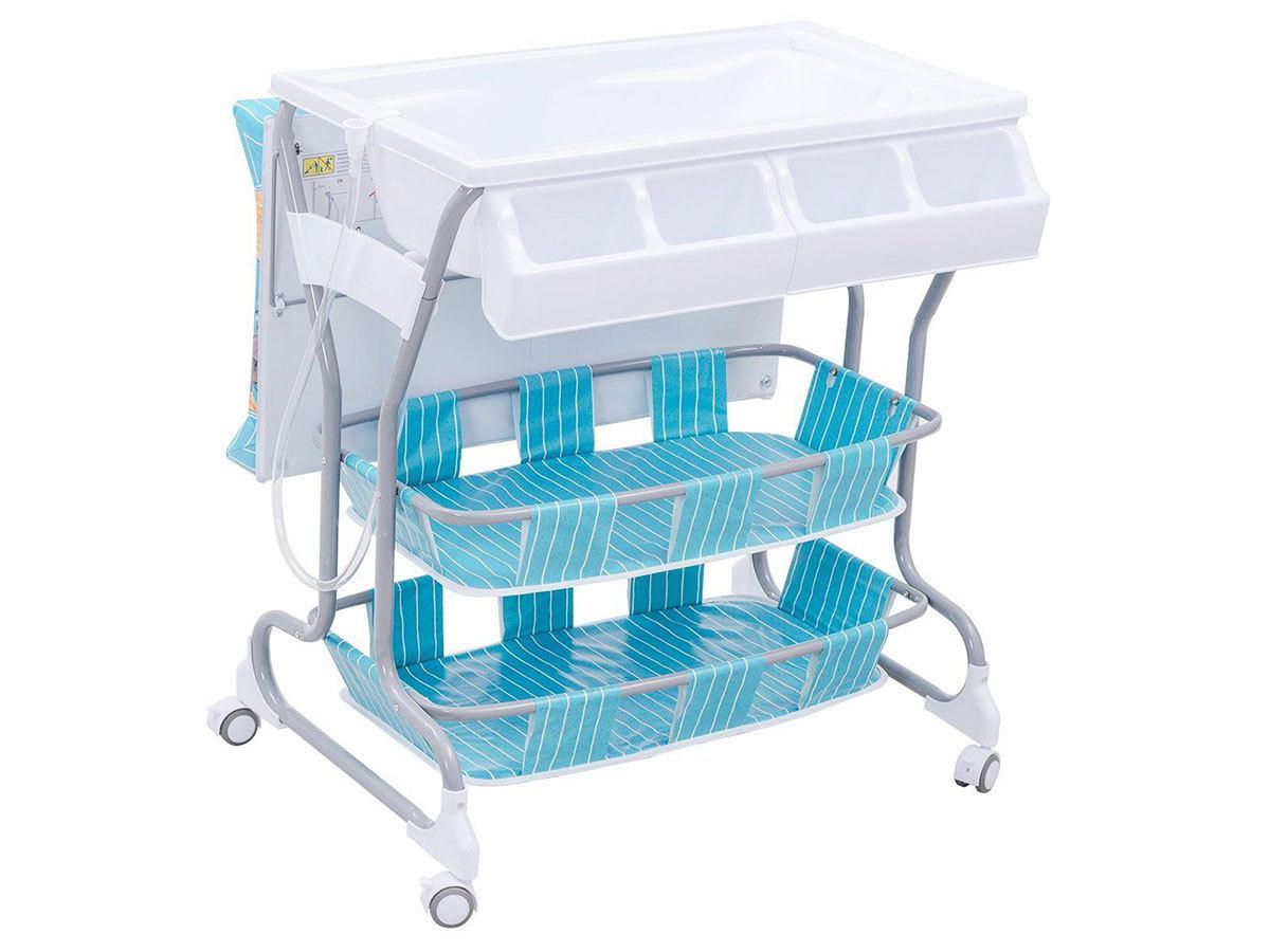 2 az 1-ben baba fürdető és pelenkázó állvány tárolókkal - KÉK