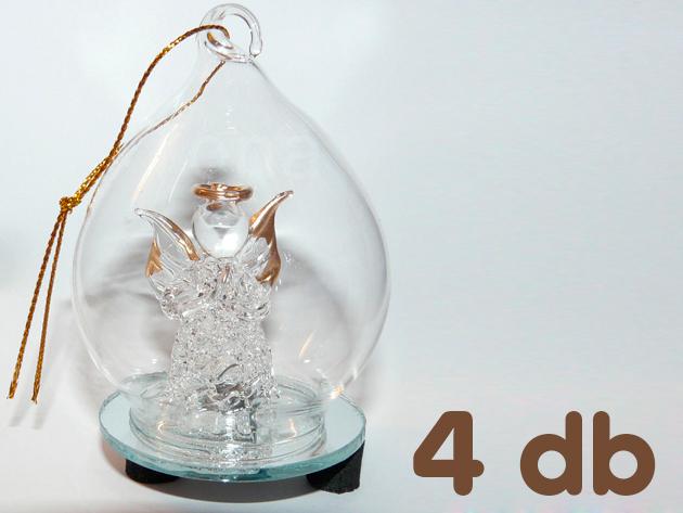 Váltakozó LED megvilágítású üveg angyal dísz 4 db