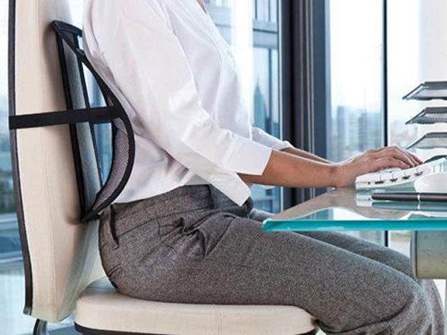 Testtartást javító háttámasz, mely jótékony hatást válthat ki a derékra és a gerincre, követve a test vonalát