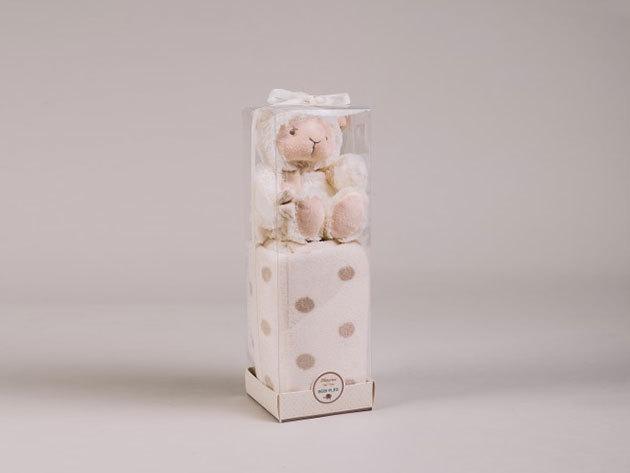 Bézs baby pléd báránnyal PVC boxban (100x75 + 21cm plüss) 5998306369172