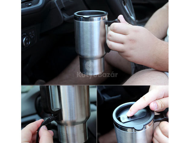 Szivargyújtóról melegíthető pohár / termosz - Melegítsd utazás közben és tartsd forrón italodat!