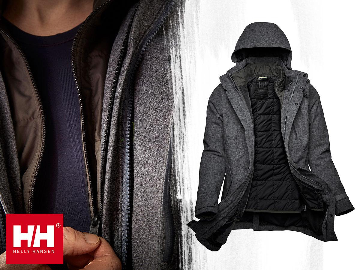 Helly Hansen HELSINKI 3-IN-1 COAT prémium vízálló kabát férfiaknak, kivehető, külön is hordható béléssel (S-XXL) - stílusos, meleg és sokoldalú
