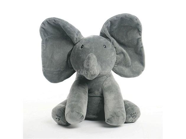 Zenélő plüss elefánt - szürke