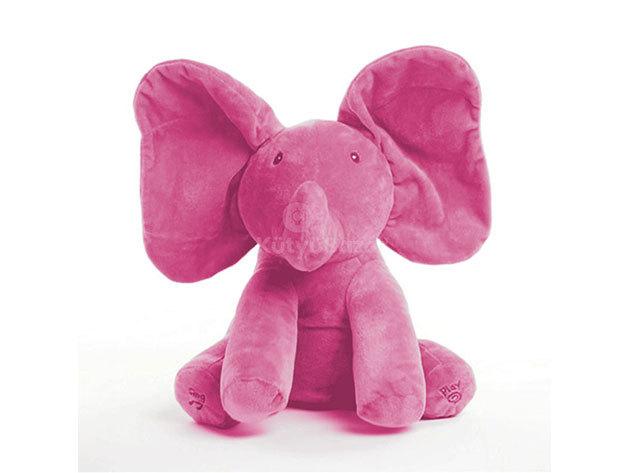 Zenélő plüss elefánt - rózsaszín