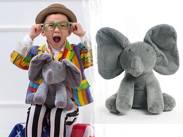 Zenélő plüss elefánt - énekével segít lekötni a gyerekek figyelmét, mozgó fülei megnevetteti a kicsiket