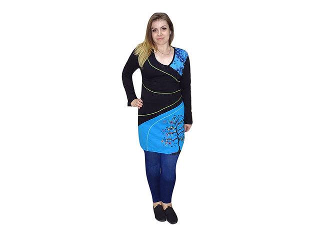 Fekete-Kék mintás tunika nepálból - S