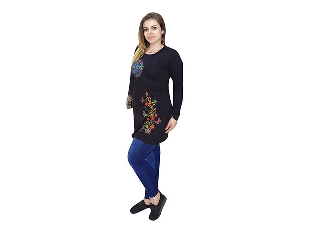 Fekete tunika mandala mintával Nepálból - M - AZONNAL ÁTVEHETŐ