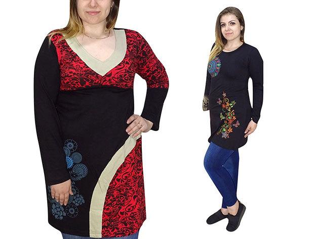 Nepáli tunikák - egyedi női ruha kézzel varrott mintával, 100% minőségi pamut anyagból már csak M-es méretben