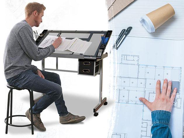Tervező asztal dönthető, üveg asztallappal, alsó megvilágítással, 4 db fékezhető kerékkel