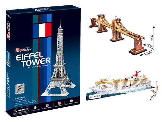 Puzzle 3D-ben - minőségi kirakósok: Eiffel-torony, óceánjáró hajó és Brooklyn-híd... Lepd meg gyermekedet!