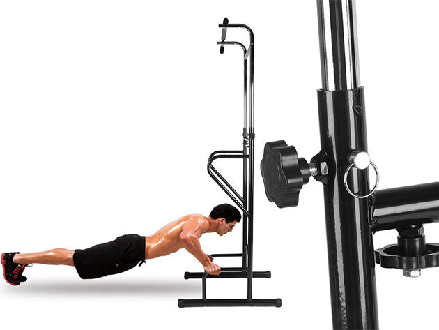 Húzódzkodó-tolódzkodó állvány fekpaddal, mellyek otthonod kényelmében végezheted az edzéseket