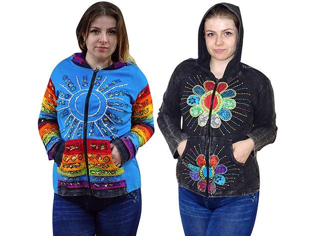 Női kapucnis felsők Nepálból - egyedi női ruhák kézzel varrott mintákkal, 100% minőségi pamut anyagból már csak XL-es méretben