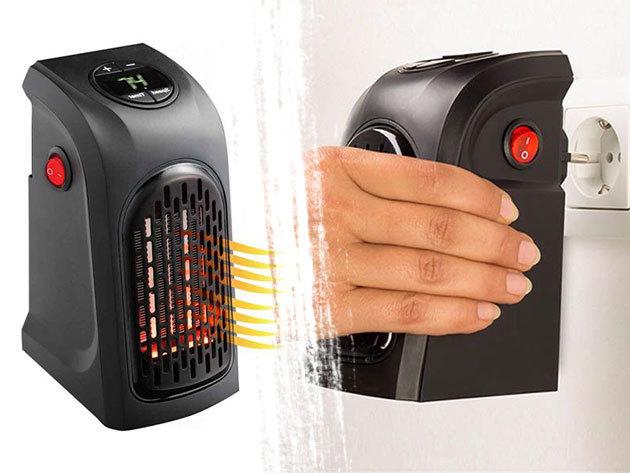 LED kijelzős mini hősugárzó kisebb helyiségek, szobák, műhely fűtésér, vezetékes és konnektorba dugható kivitelben
