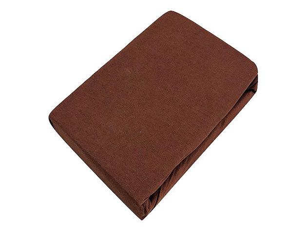 Gumis lepedő, Jersey  Méret: 220cm x 200cm, sötétbarna