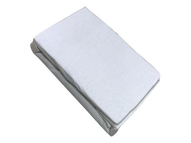 Gumis lepedő, Jersey  Méret: 100cm x 200cm, fehér