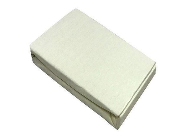 Gumis lepedő, Jersey  Méret: 100cm x 200cm, krém