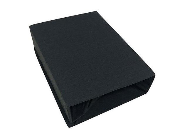 Gumis lepedő, Jersey  Méret: 100cm x 200cm, fekete