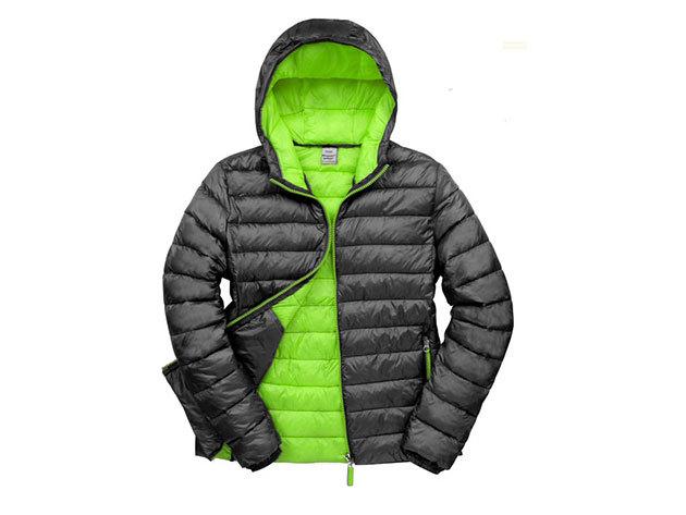 Kapucnis kabát férfiaknak - Fekete-Zöld XXL