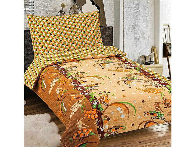 Krepp 3 részes ágyneműhuzat, barna és bézs színben virág mintával