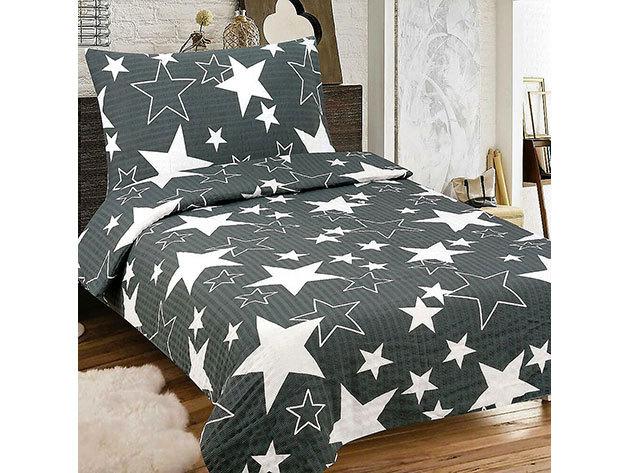 Krepp 3 részes ágyneműhuzat, fekete alapon fehér csillagos minta
