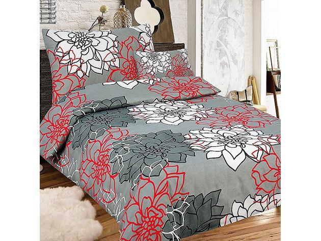 Krepp 3 részes ágyneműhuzat, szürke, piros és fehér nagy virágos