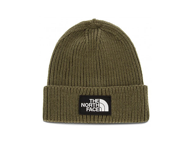 The North Face TNF LOGO BOX CUFFED BEANIE NEW TAUPE GREEN - T93FJX21L