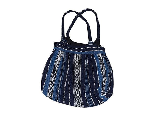 Nepáli 2 pántos táska pamutból kék csíkos színben