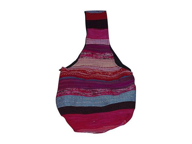 Nepáli táska pamutból pink csíkos színben, kosár alakú
