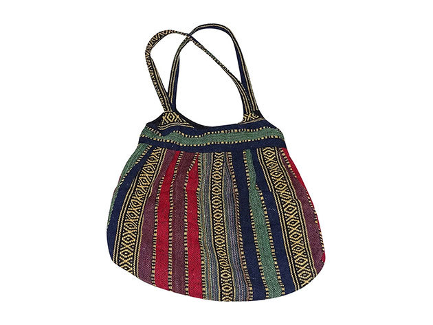 Nepáli 2 pántos táska pamutból piros-zöld csíkos színben
