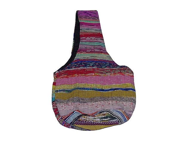 Csíkos pamut táska Nepálból, kosár alakú