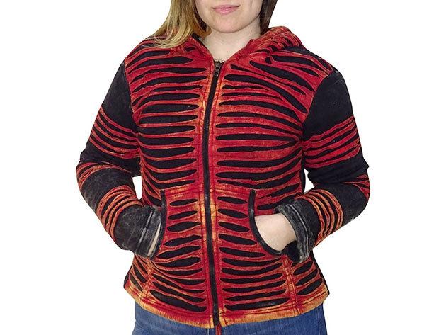 Női nepáli felső - Fekete alapon piros színű minta - XL