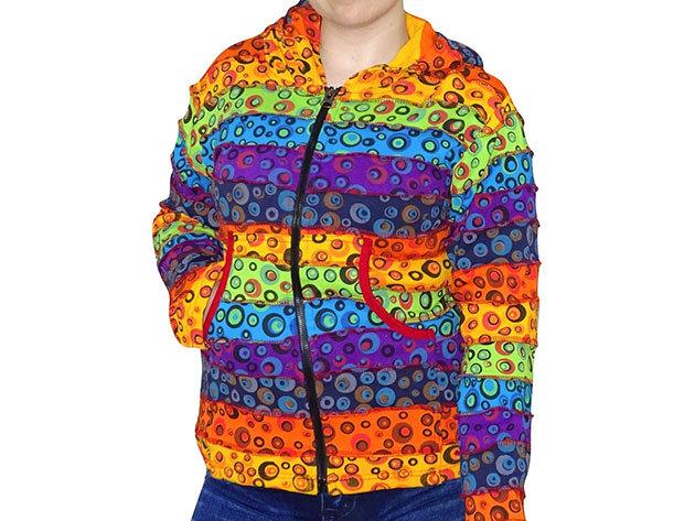 Női nepáli felső - Buborék minta, szivárvány színű - L