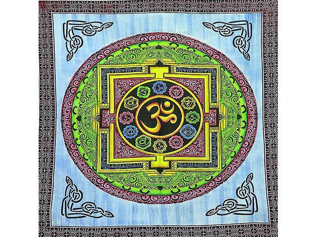 OM mintás pamut falidísz Indiából kék színben
