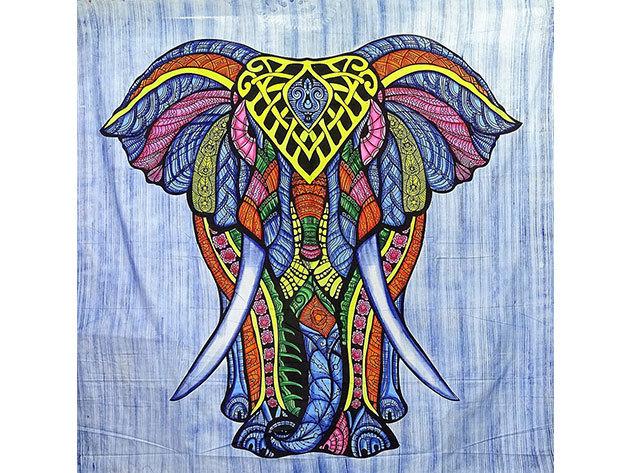 Elefánt mintás pamut falidísz Indiából