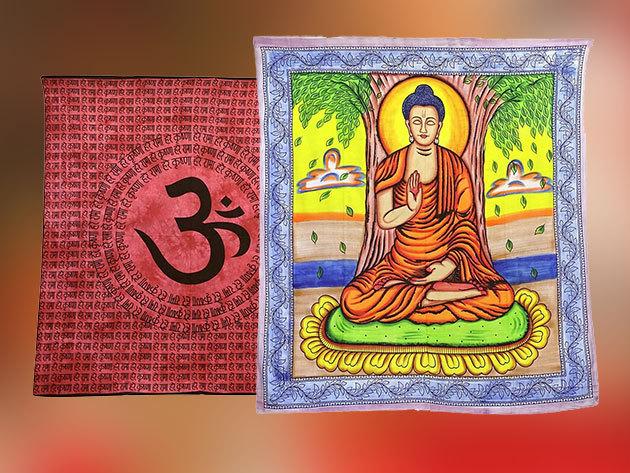 Falidíszek Indiából minőségi pamut anyagból - 12 egyedi, színes minta / Használhatod akár takaróként, jógához, lepedőként...