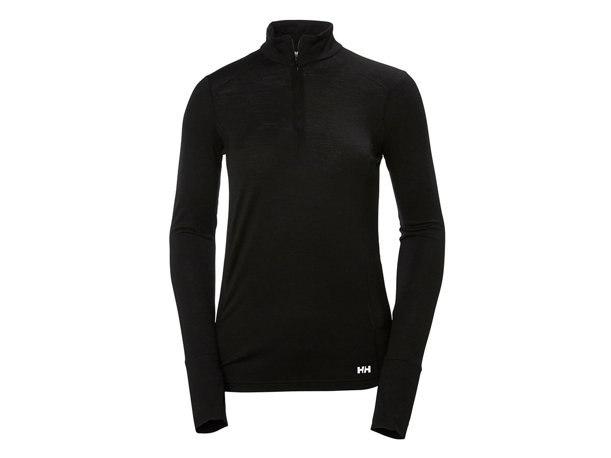 Helly Hansen W HH MERINO MID 1/2 ZIP - BLACK - XL (48497_991-XL )