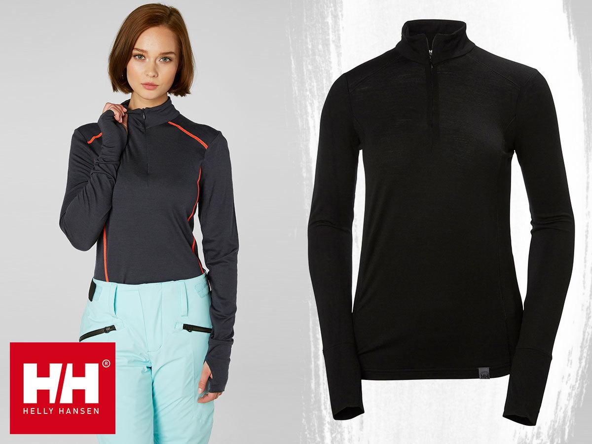 Helly Hansen W HH MERINO MID 1/2 ZIP aláöltözet nőknek 100% merinói gyapjúból - száraz érzést biztosít intenzív mozgás közben is