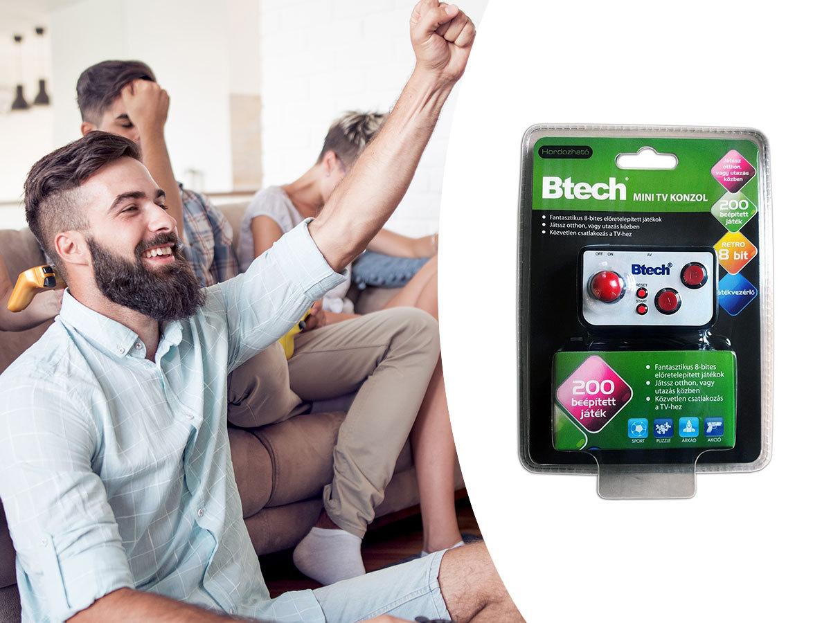 Btech Mini TV konzol 200 db beépített 8 bites játékkal (BGX-100) Kitűnő időöltés a téli hónapokra!
