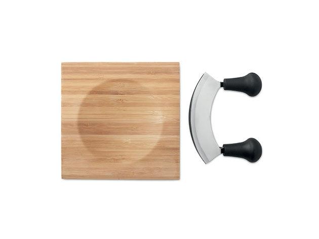 ANCONA Ívelt pengéjű fűszer- vagy sajtvágó kés bambusz vágódeszkával