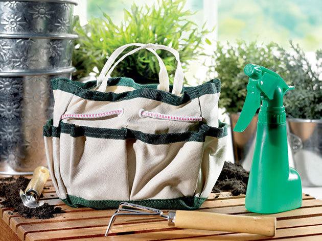 Kertészkesztyű és kerti szerszámos táska hasznos kiegészítőkkel: ásó, kapa, drótvágó olló - készülj a tavaszra!