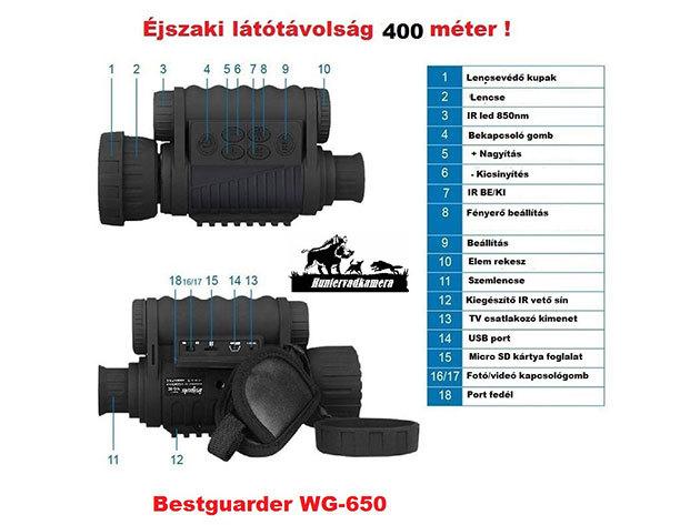 WG650 nappali/éjszakai távcső (éjjellátó)
