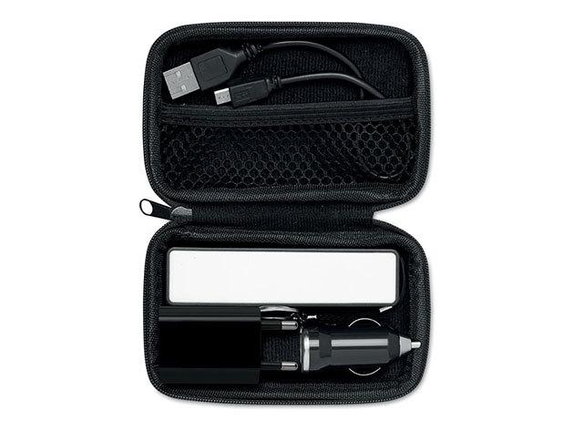 SUPERPOUCH- külső akkumulátor utazó szett - fekete