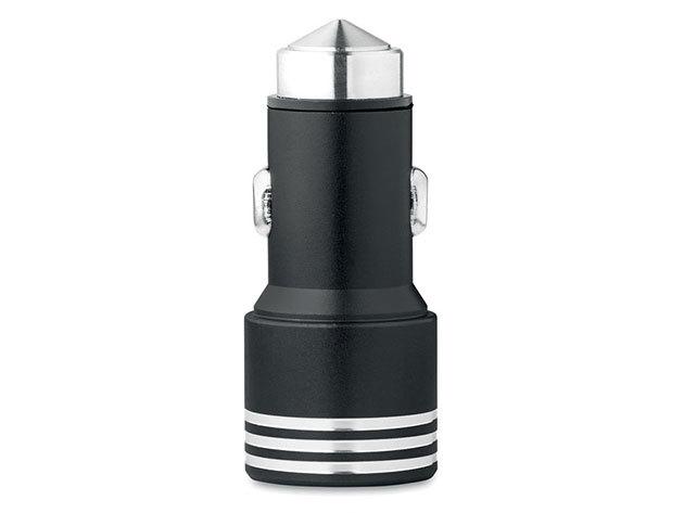 HEIMO Alumínium autós töltő üvegtörő kalapáccsal - fekete - AZONNAL ÁTVEHETŐ