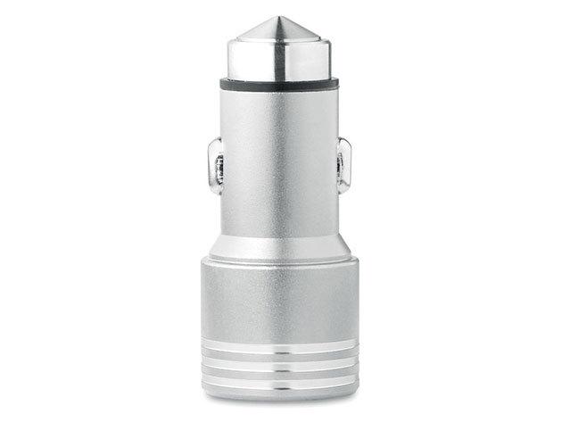 HEIMO Alumínium autós töltő üvegtörő kalapáccsal - ezüst
