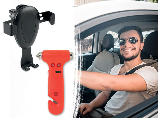 Autós mobiltartó, külső akkumulátor, töltő, üvegtörő kalapács és öv vágó vészhelyzetekre