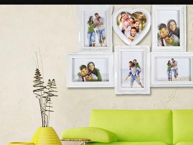 Extra nagy fali képkeret (50 x 34 cm) 6 fotóhoz, fehér színben - szuper ajándékötlet!