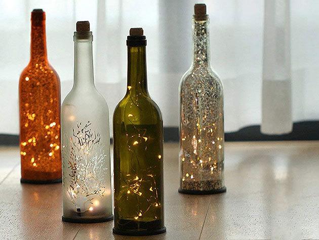 Elemes LED borosüveg dugó világítás meleg fehér
