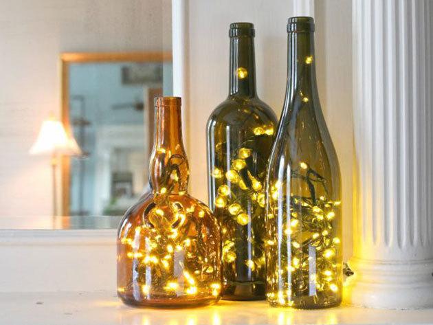 Dekorációs világítás - borosüveg dugó LED-es fényfüzérrel, meleg fehér színben