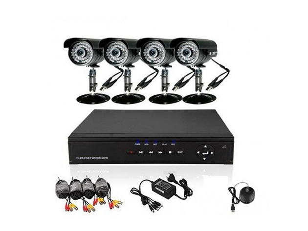 4 kamerás megfigyelő rendszer, kamerarendszer, megfigyelő központtal és kamerákkal